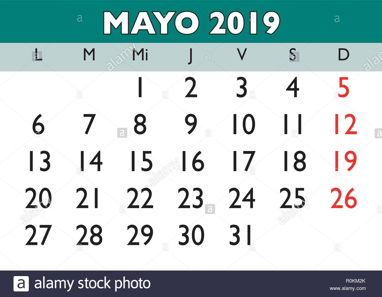 Calendario Vector.May Month In A Year 2019 Wall Calendar In Spanish Mayo 2019