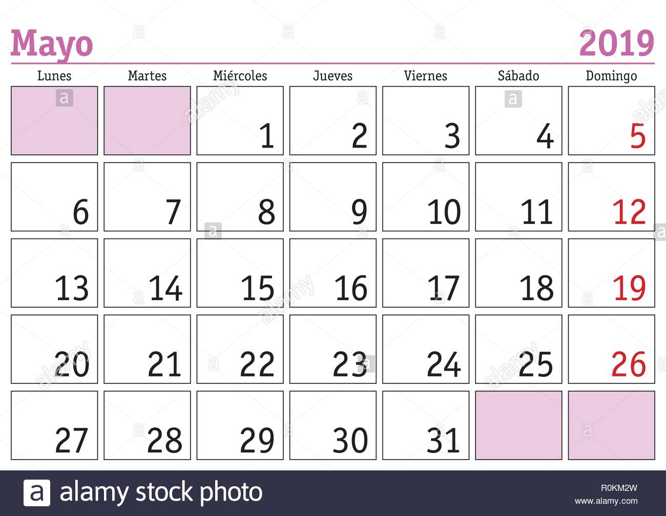 Vector De Calendario 2019.May Month In A Year 2019 Wall Calendar In Spanish Mayo 2019