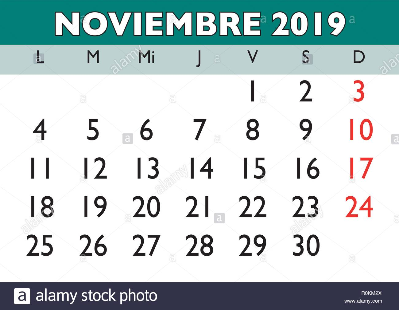 Calendario Noviembre 2019.November Month In A Year 2019 Wall Calendar In Spanish Noviembre