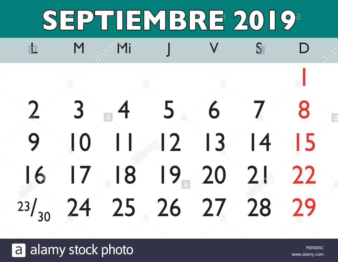 Calendario Vectores.September Month In A Year 2019 Wall Calendar In Spanish