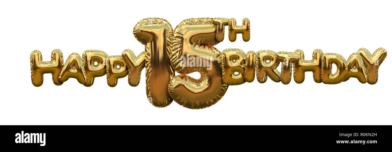 Happy 15th Birthday Gold Foil Balloon Greeting Background 3D