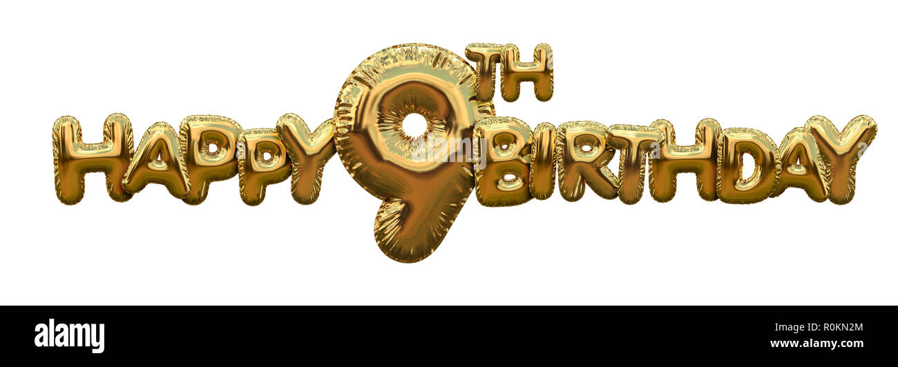 Happy 9th Birthday Gold Foil Balloon Greeting Background 3D Rendering