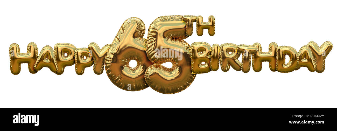 Happy 65th Birthday Gold Foil Balloon Greeting Background 3D Rendering