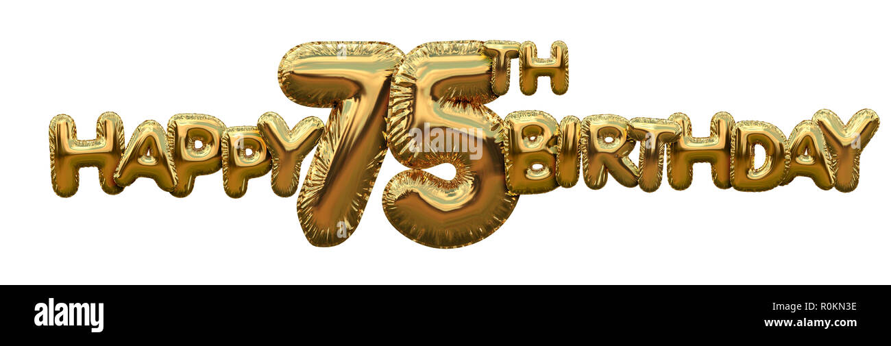 Happy 75th Birthday Gold Foil Balloon Greeting Background 3D Rendering