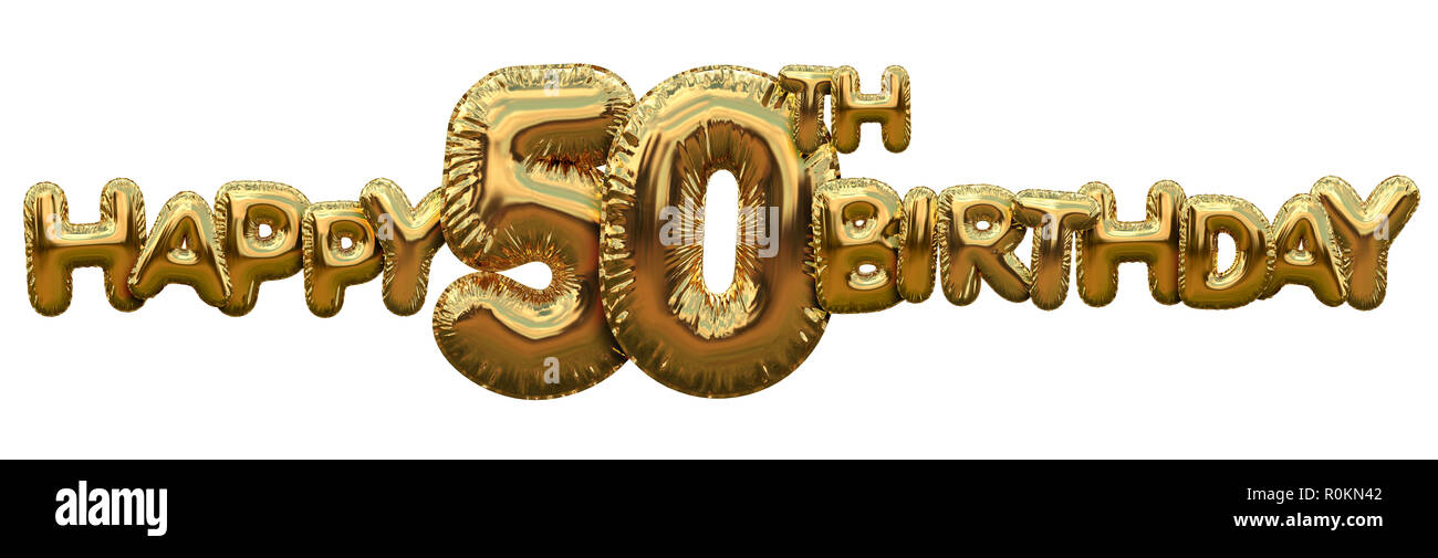 Happy 50th Birthday Gold Foil Balloon Greeting Background 3D Rendering