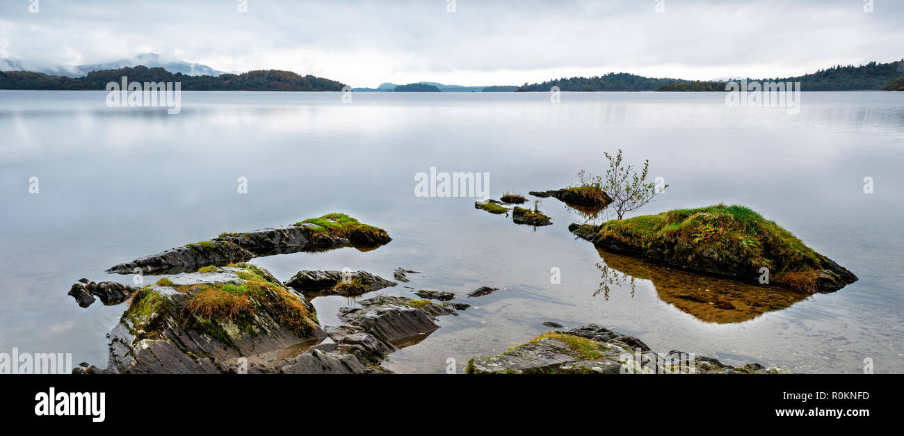 Looking accross Loch Lomond towards Inchlonaig from Luss - Stock Image