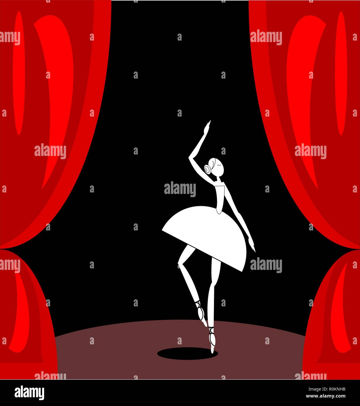 dark red scene and white abstract ballet dancer - Stock Vector
