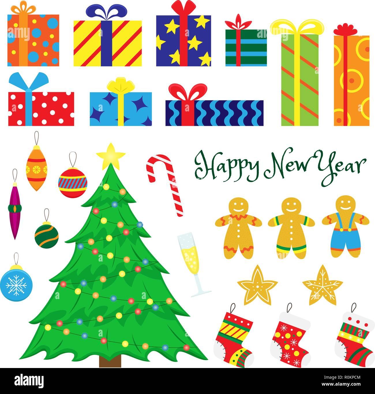 Christmas Set.Set Of Christmas Decorations Christmas Trees Christmas Toys