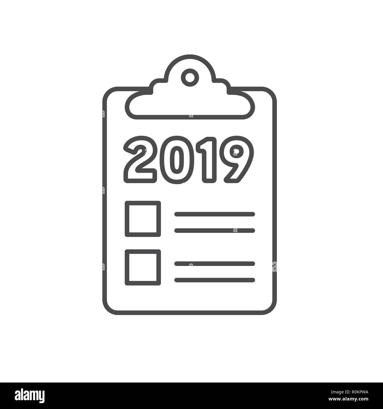 2019 Goals Vector graphic with year 2019 and artistically styled images Stock Vector
