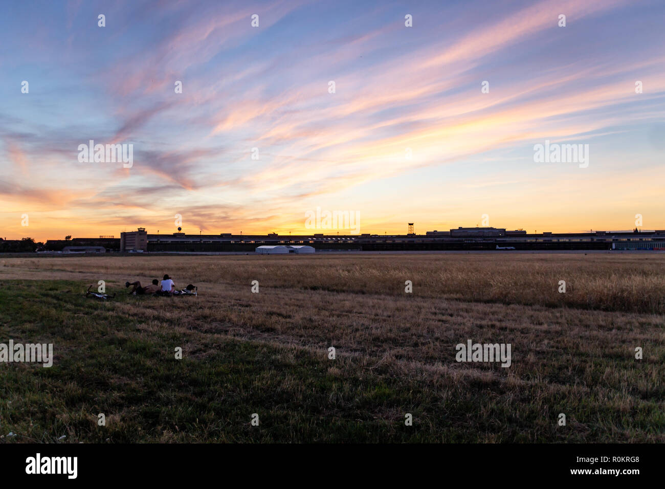BERLIN, GERMANY - July 29, 2018: The Tempelhofer Field (a former Airport) at Sunset - Stock Image