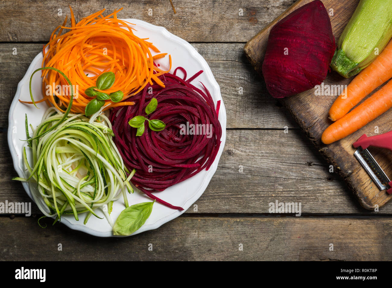 Vegetable noodles - zucchini, carrot and beetroot Stock Photo