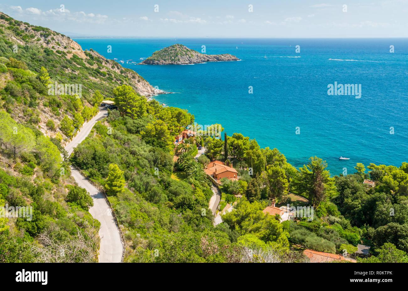 A sunny summer landscape near Porto Ercole, in Monte Argentario, in the Tuscany region of Italy. - Stock Image