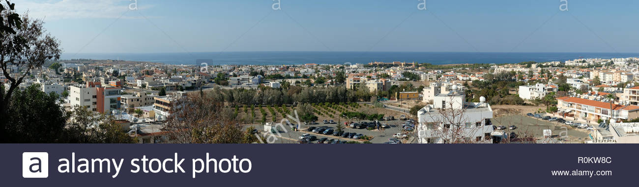 Panoramic photograph of  Kato Paphos from Paphos old town with the Mediterranean Sea in the distance. - Stock Image