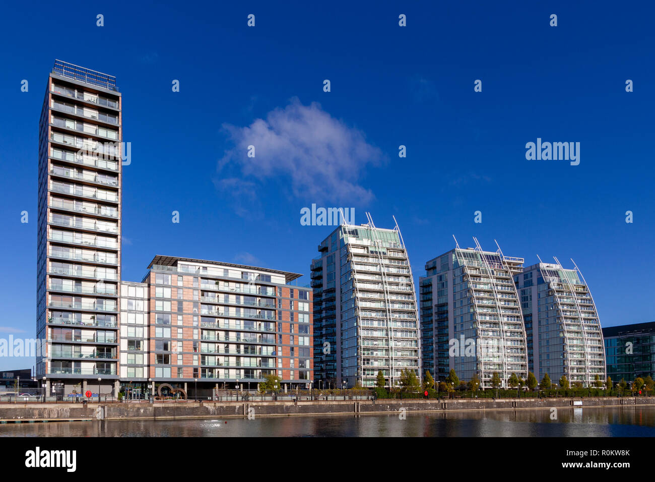 Residential Apartments at Salford Quays, Manchester - Stock Image