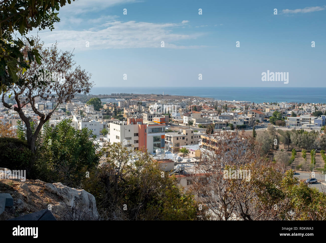 View over Kato Paphos from Paphos old town with the Mediterranean Sea in the distance - Stock Image