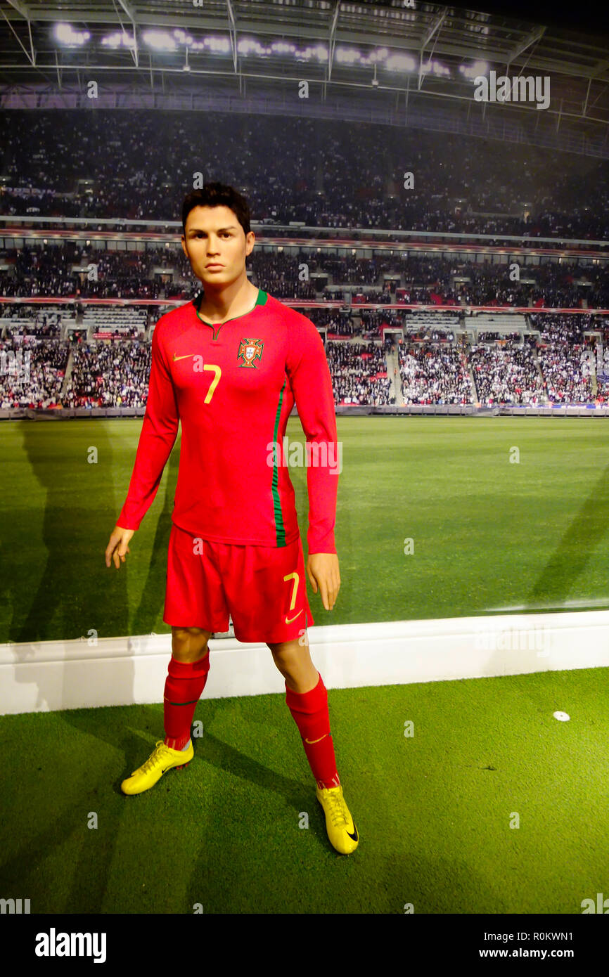 Wax figure of Cristiano Ronaldo at world renowned tourist attraction Madame Tussauds Wax museum in London, United Kingdom. - Stock Image