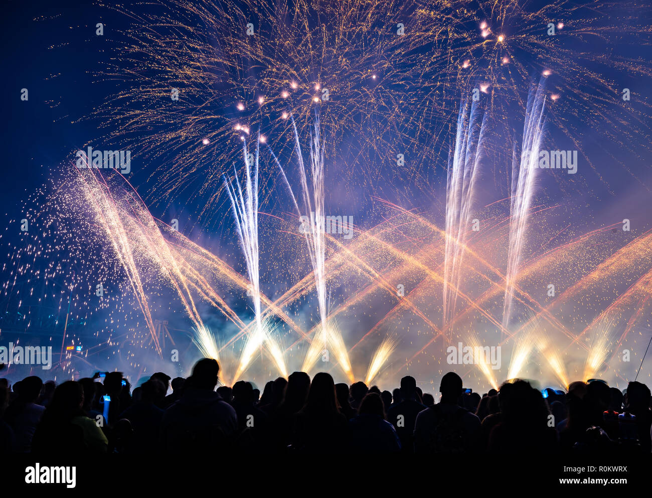 People watching fireworks in night sky Stock Photo