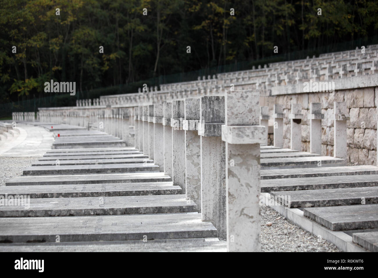 Rows of graves and white stone crosses in Polish War Cemetery at Monte Cassino Southern Italy Stock Photo