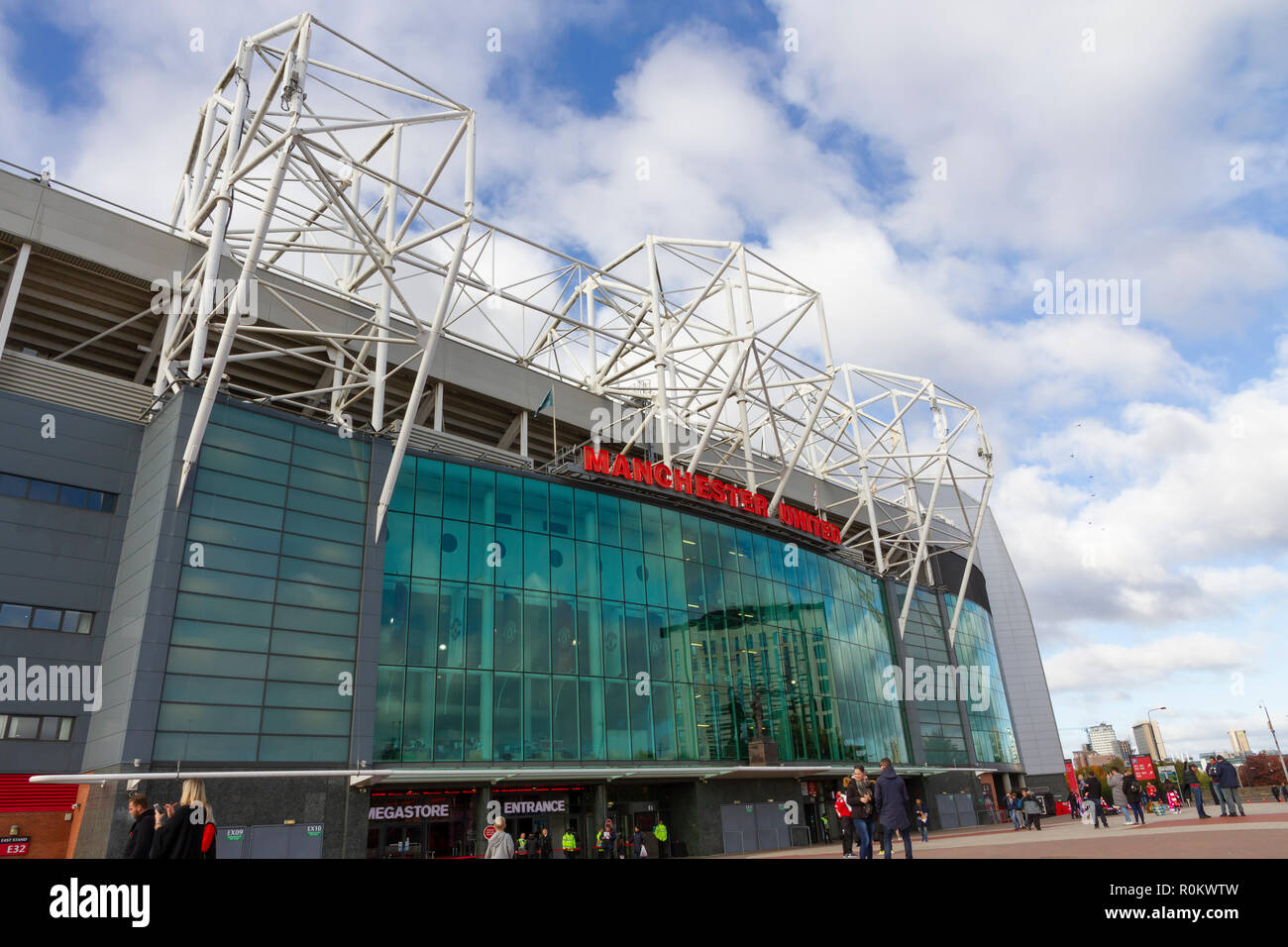 Old Trafford Football Ground. Home to Manchester United Football Club - Stock Image