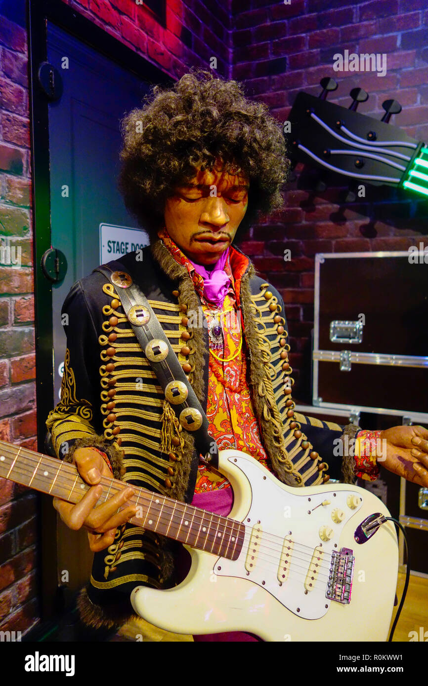 Wax figure of Jimi Hendrix at world renowned tourist attraction Madame Tussauds Wax museum in London, United Kingdom. - Stock Image