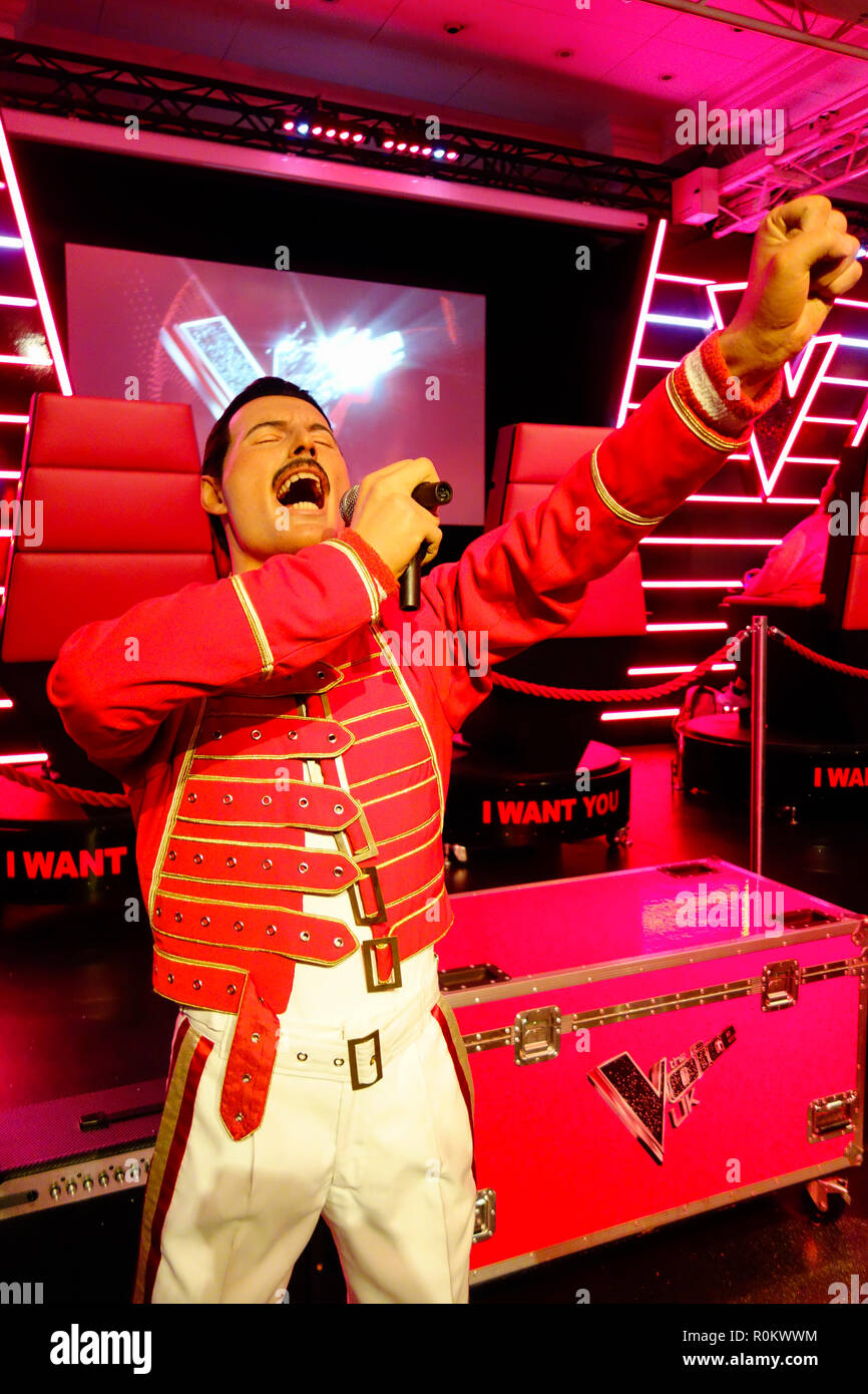 Wax figure of Freddie Mercury at world renowned tourist attraction Madame Tussauds Wax museum in London, United Kingdom. Stock Photo