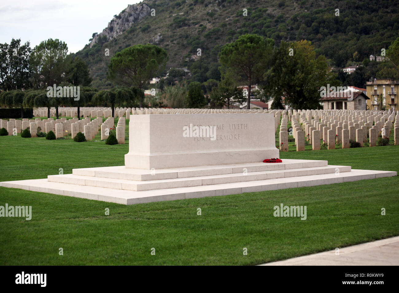 Memorial at British and Commonwealth War Graves Cemetery Cassino Southern Italy - Stock Image