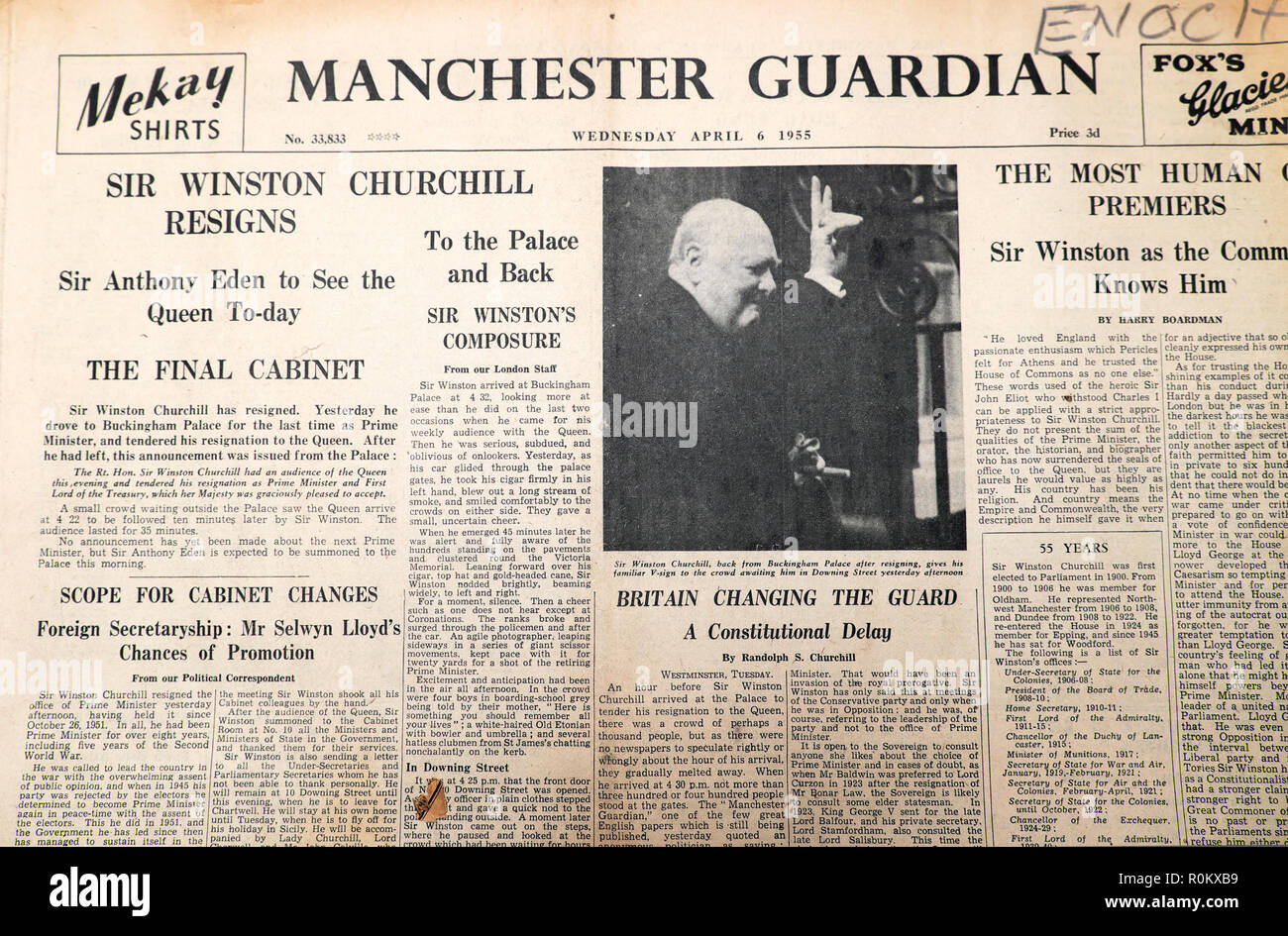 Front page of Manchester Guardian newspaper 'Sir Winston Churchill Resigns' & Anthony Eden to See Queen The Final Cabinet London England 6 April 1955 - Stock Image