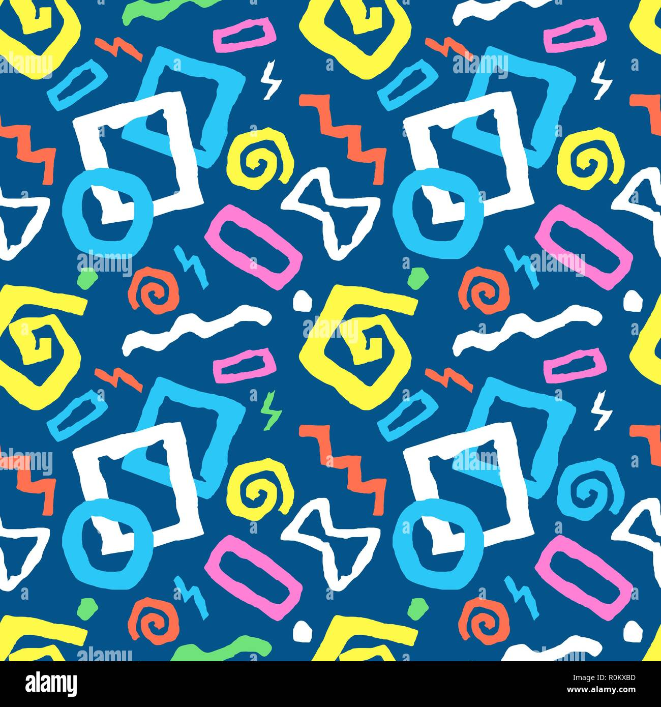 Colorful Seamless doodle art pattern in blue background with different shapes perfect for fabric, textile, gift wrap, wallpaper. Hand drawn vector ill