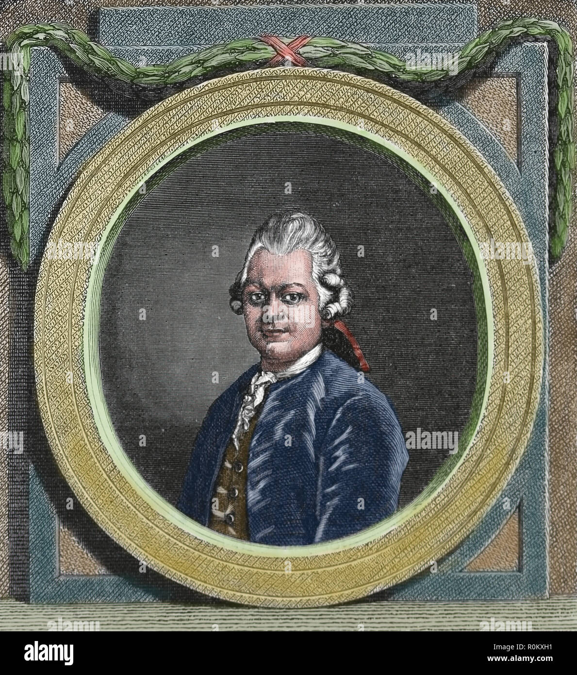 Gotthold Ephraim Lessing (1729-1781). German writer and drramatist. Enlightenment era. Engraving of Germania, 1882. Stock Photo