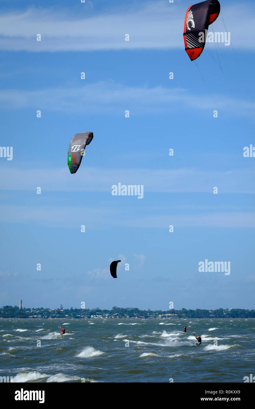 Kitesurfers at Brighton - Stock Image