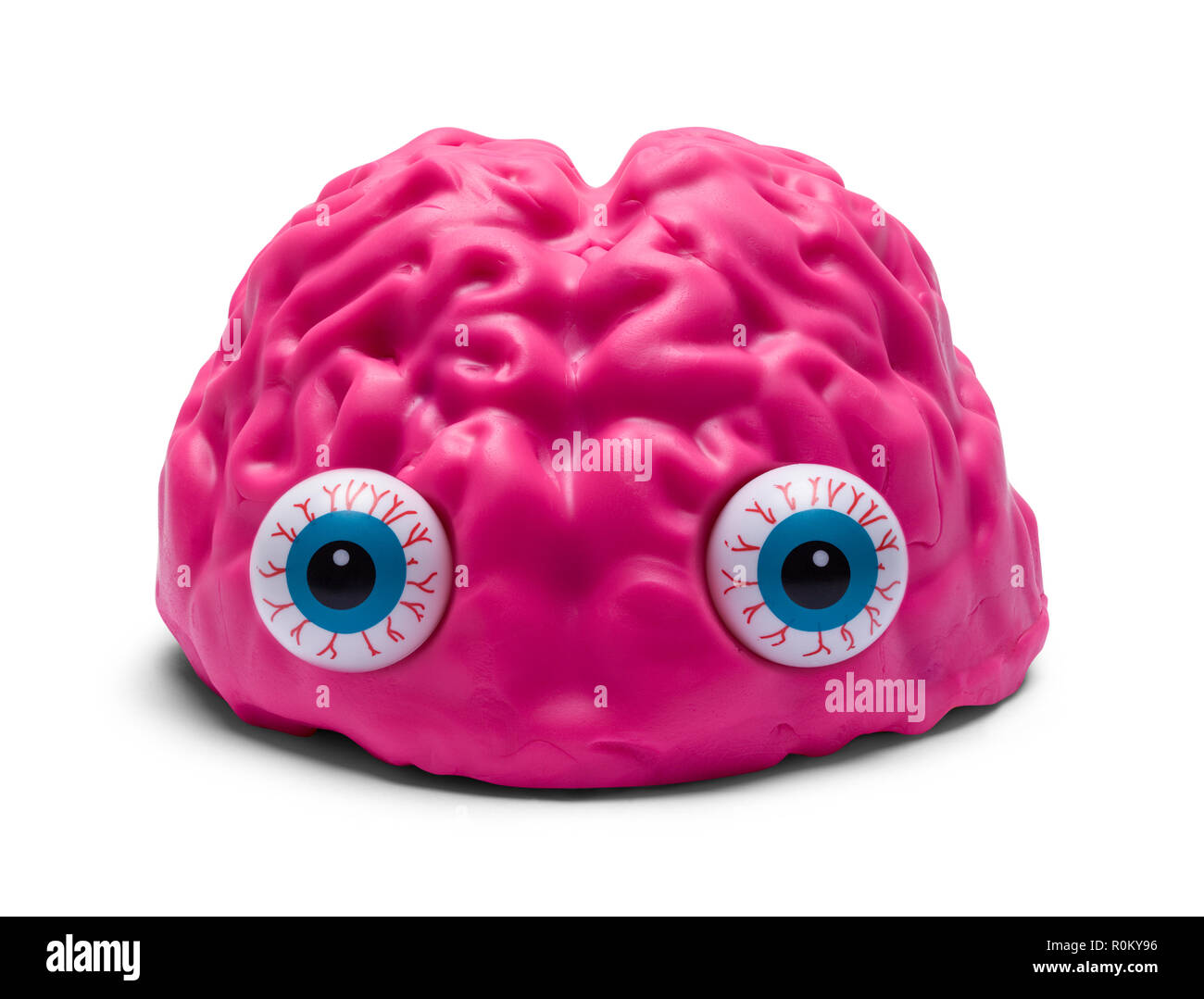 Brain Front with Eyes Isolated on a White Background. - Stock Image
