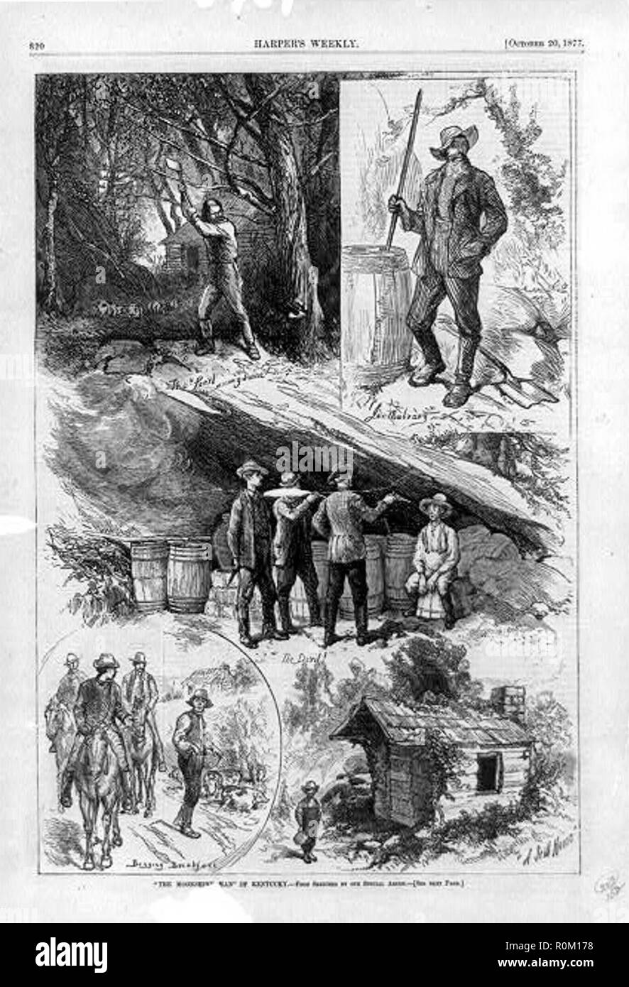 The Moonshine Man of Kentucky, an illustration from Harper's Weekly, 1877, showing five scenes from the life of a Kentucky moonshiner. - Stock Image