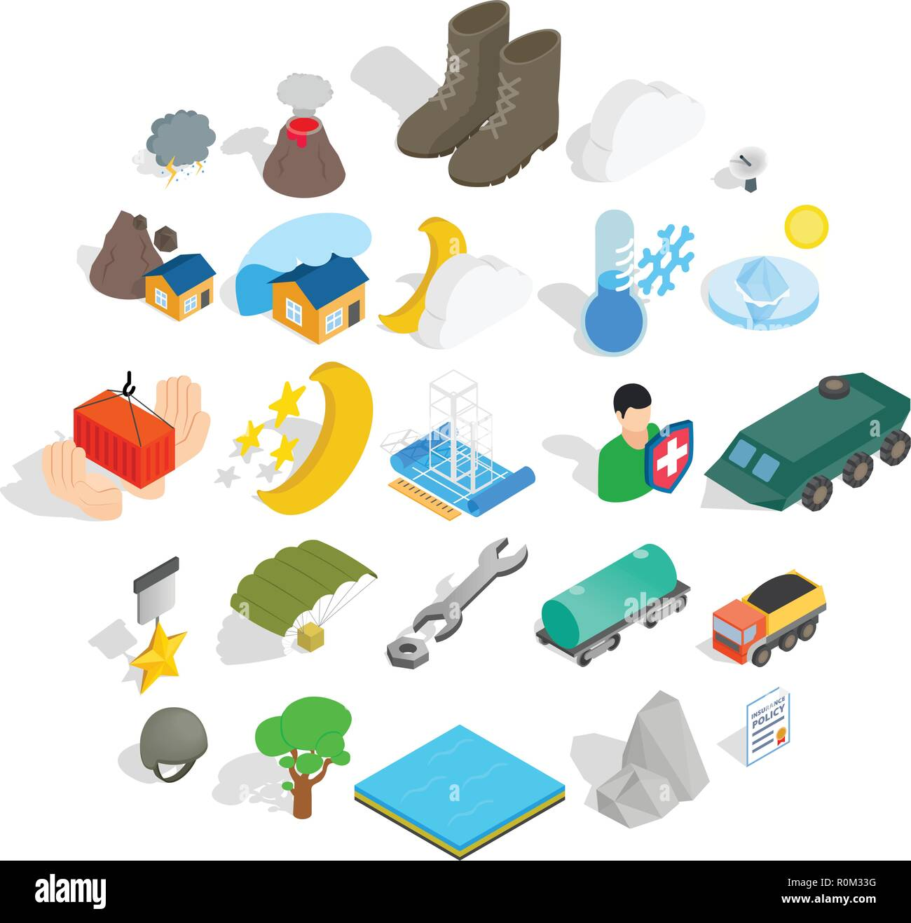 Inflammable icons set, isometric style - Stock Image
