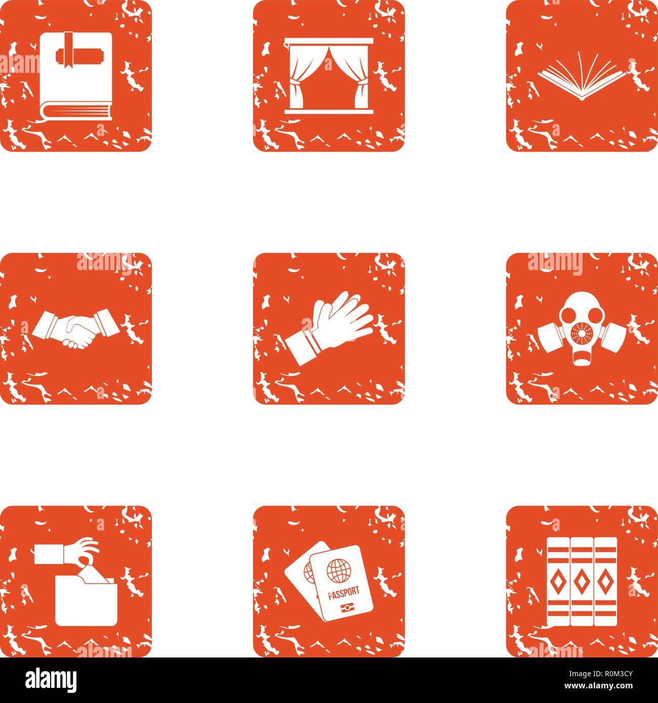 Diplomacy icons set, grunge style - Stock Image