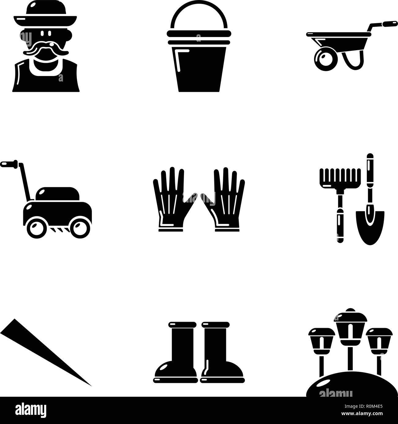 Lawn icons set, simple style - Stock Image