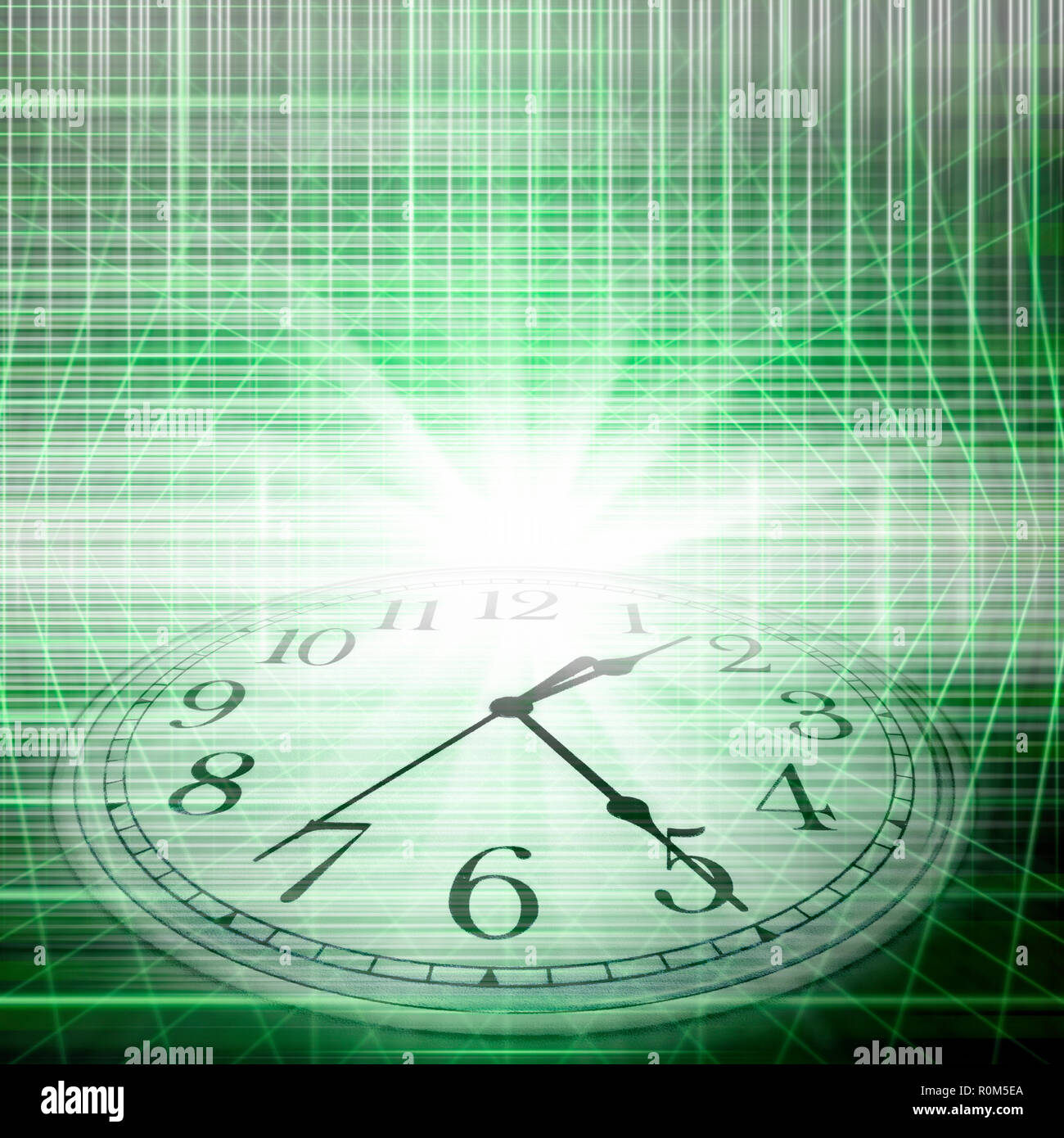 conceptual technology and time image of clock and abstract lights Stock Photo