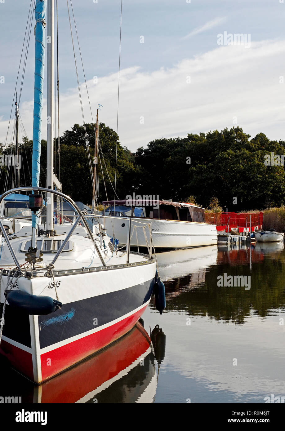 Boats on temporary moorings at Horsey Mere on the Norfolk Broads while the cut to Horsey Staithe is closed for a culvert repair. Stock Photo