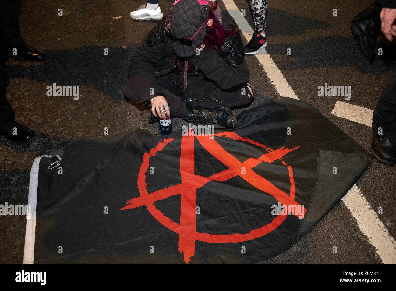 London, UK. 5th Nov 2018. Million Mask March rally in central London on the 5th November 2018 with Anonymus supporters wearing the iconic Guy Fawkes mask. Credit: Giovanni Strondl/Alamy Live News - Stock Image
