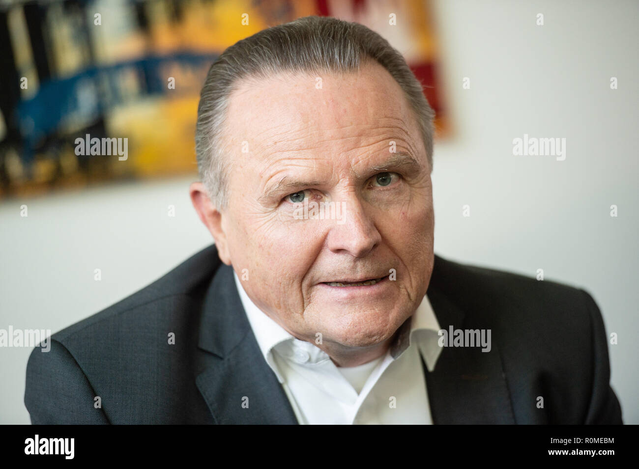 Berlin, Germany. 06th Nov, 2018. Georg Pazderski (AfD), leader of the AfD parliamentary group in the Berlin House of Representatives, speaks to journalists in the party's parliamentary group rooms about the interim status of the AfD Internet portal 'Neutrale Schule' (Neutral School). On 22.10. the Berlin AfD had put a website online, on which pupils and parents can tell if teachers in class are critical of the AfD. Credit: Arne Immanuel Bänsch/dpa/Alamy Live News - Stock Image