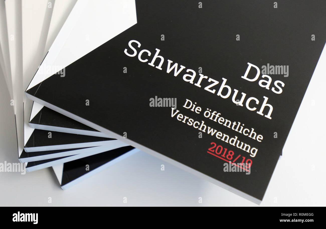 Berlin, Germany. 06th Nov, 2018. The Taxpayers' Association presents the new 'Black Book' at a press conference. The association criticizes the wasteful use of taxpayers' money on the basis of examples. Credit: Wolfgang Kumm/dpa/Alamy Live News - Stock Image