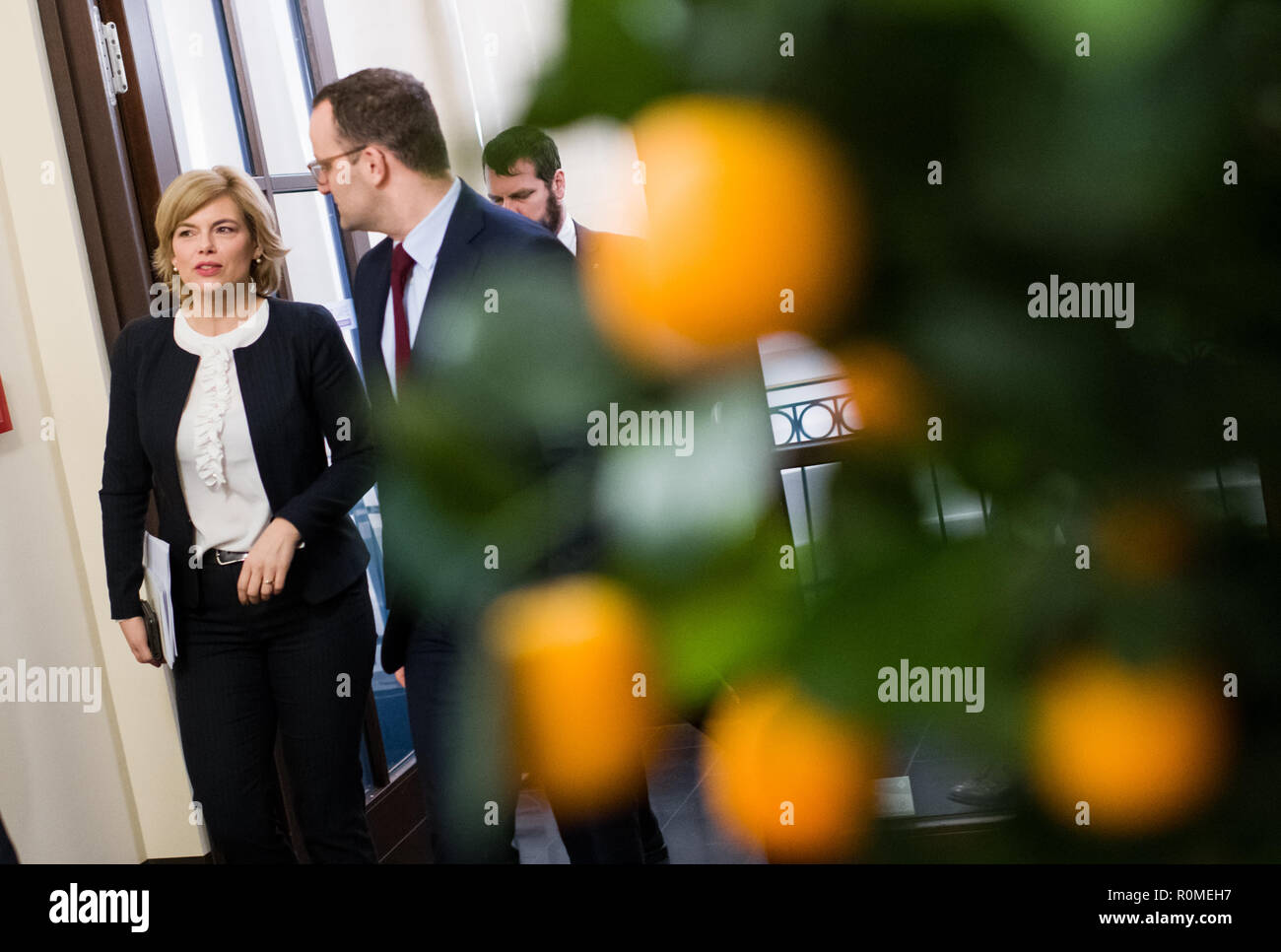 Berlin, Germany. 06th Nov, 2018. Jens Spahn (r, CDU), Federal Minister of Health, and Julia Klöckner (CDU), Federal Minister of Food and Agriculture, come to a press conference at the Federal Congress on School Catering on the occasion of the presentation of a study by the German Society for Nutrition on cost and price structures in school catering. More than three million pupils at all-day schools eat lunch every day at school. Credit: Bernd von Jutrczenka/dpa/Alamy Live News - Stock Image
