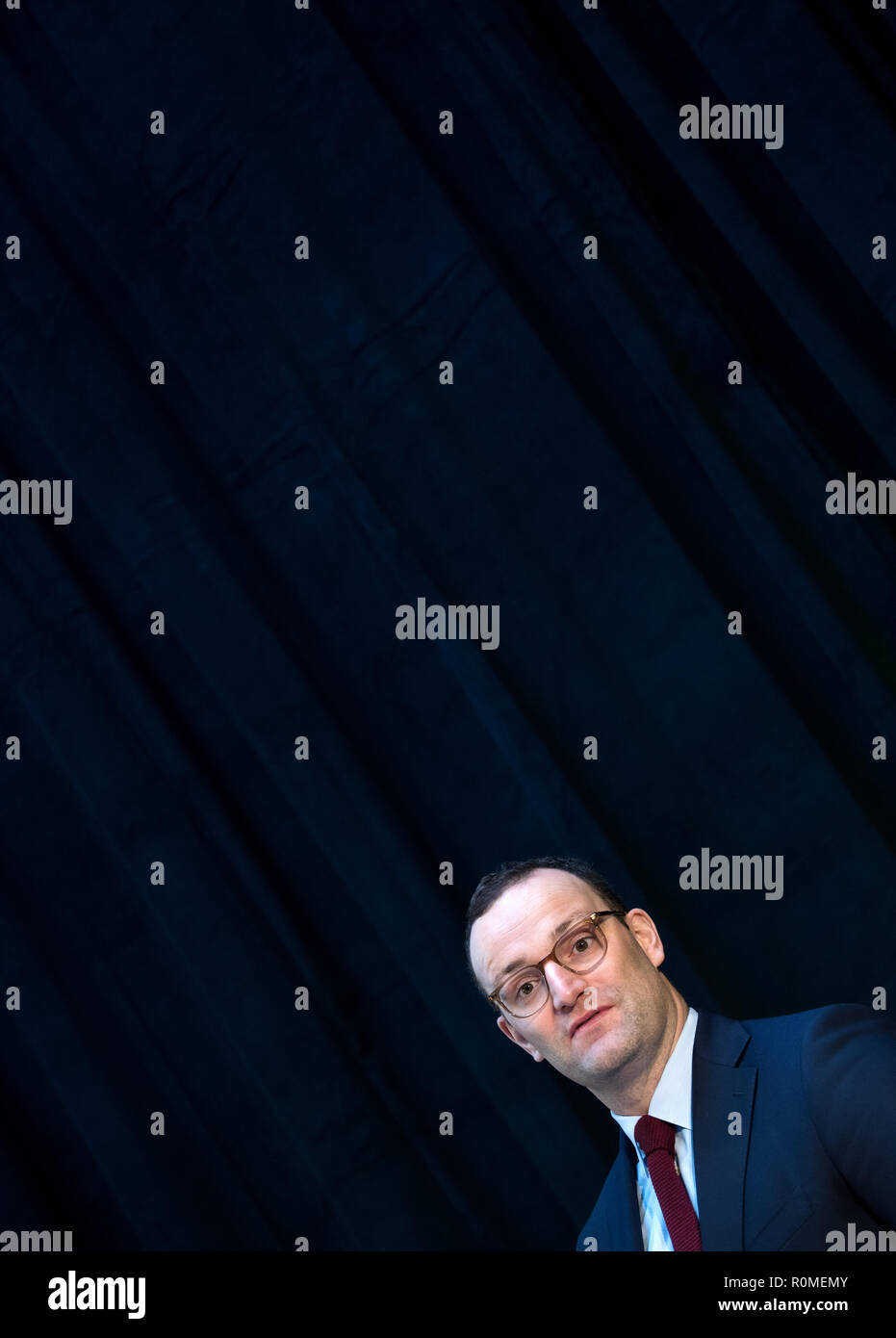 Berlin, Germany. 06th Nov, 2018. Jens Spahn (CDU), Federal Minister of Health, speaks at the Federal Congress on School Catering on the occasion of the presentation of a study by the German Nutrition Society on cost and price structures in school catering. More than three million pupils at all-day schools eat lunch every day at school. Credit: Bernd von Jutrczenka/dpa/Alamy Live News - Stock Image