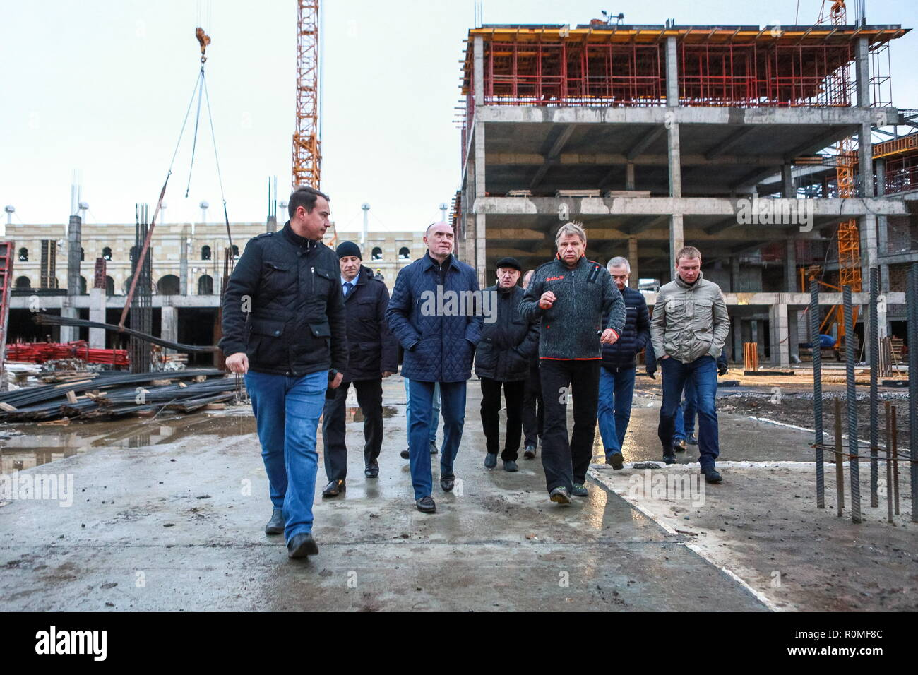 Chelyabinsk, Russia. 04th Nov, 2018. CHELYABINSK, RUSSIA - NOVEMBER 4, 2018: The Governor of Chelyabinsk Region Boris Dubrovsky (3rd L) visits the construction site of the Taganai 2020 Congress Hall at Ulitsa Truda Street; in 2020, Chelyabinsk is going to host an SCO summit and a BRICS summit. Nail Fattakhov/TASS Credit: ITAR-TASS News Agency/Alamy Live News - Stock Image