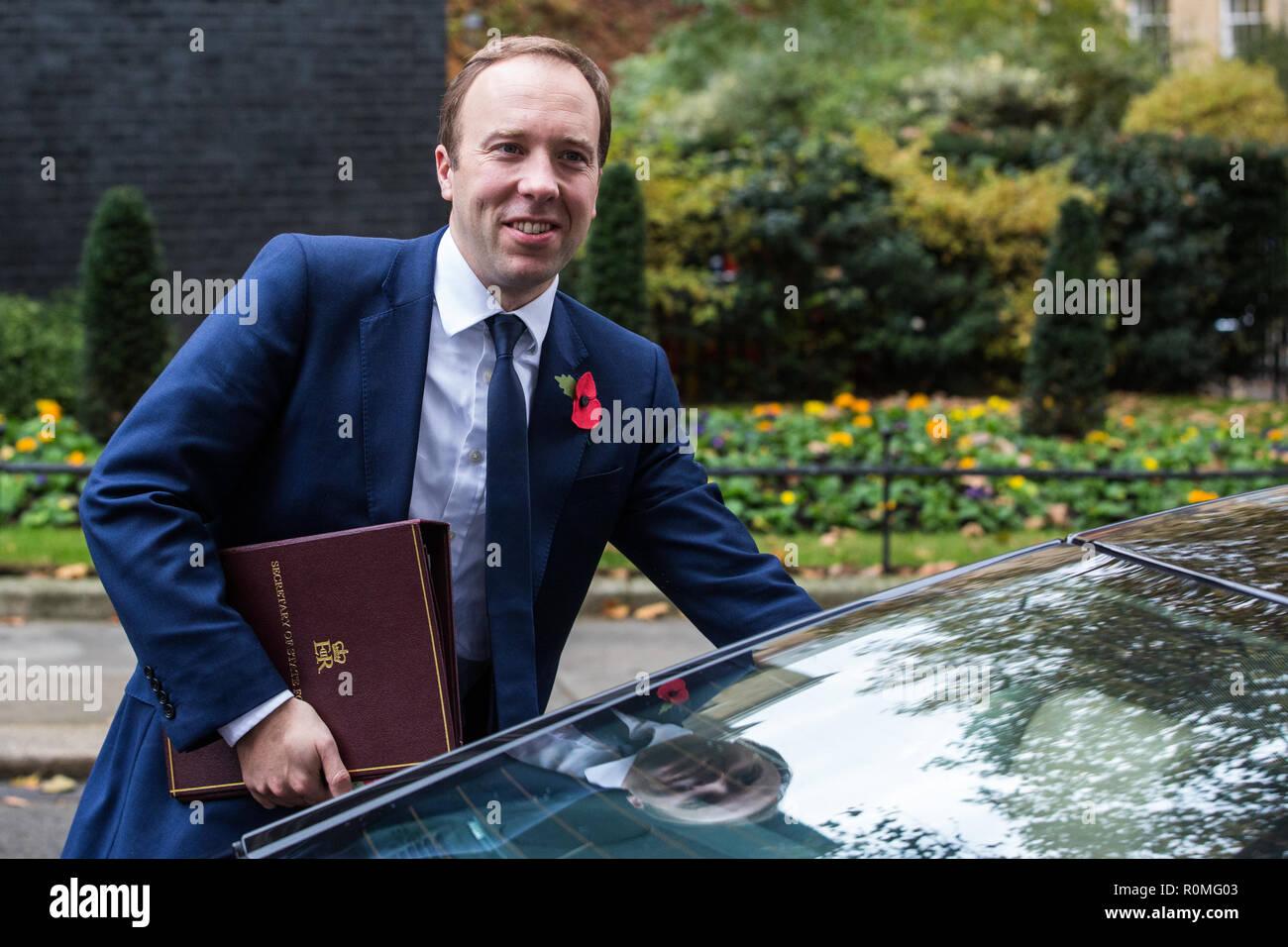 London Uk 6th November 2018 Matt Hancock Mp Secretary Of State