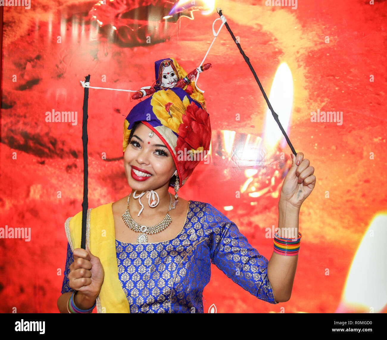London 05.Nov.2018 WTM 2018 Exhibitors form around the world come to the London fair to do business and bring a bit of their culture, traditional  costumes ,food, dance and music Credit: Paul Quezada-Neiman/Alamy Live News - Stock Image