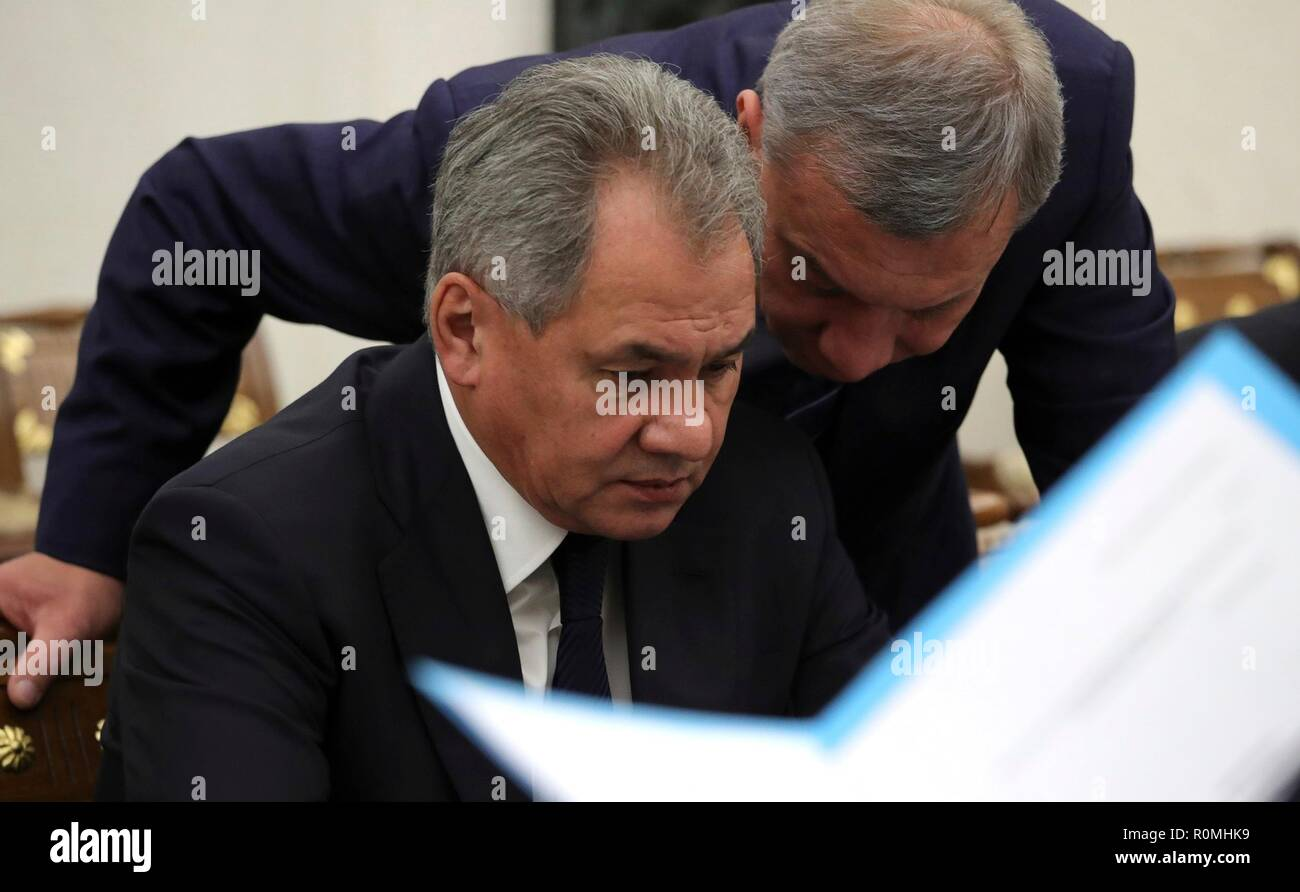 Russian Defence Minister Sergei Shoigu, left, and Deputy Prime Minister Yury Borisov before a meeting of the Commission for Military Technology Cooperation with Foreign States at the Kremlin November 6, 2018 in Moscow, Russia. - Stock Image