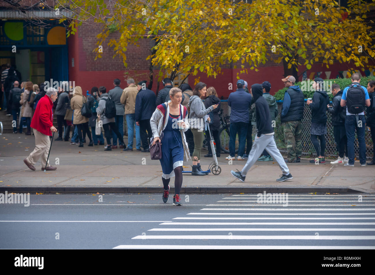 New York, USA. 6th November, 2018. Hundreds of voters wait in line to enter the PS33 polling station in the Chelsea neighborhood of New York on Election Day, Tuesday, November 6, 2018.  Credit: Richard Levine/Alamy Live News Stock Photo