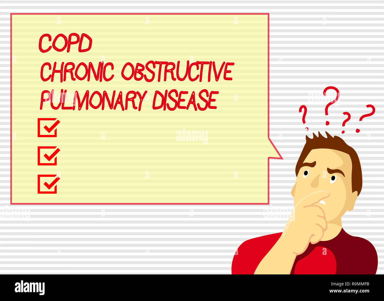Handwriting text Copd Chronic Obstructive Pulmonary Disease. Concept meaning Lung disease Difficulty to breath. - Stock Image