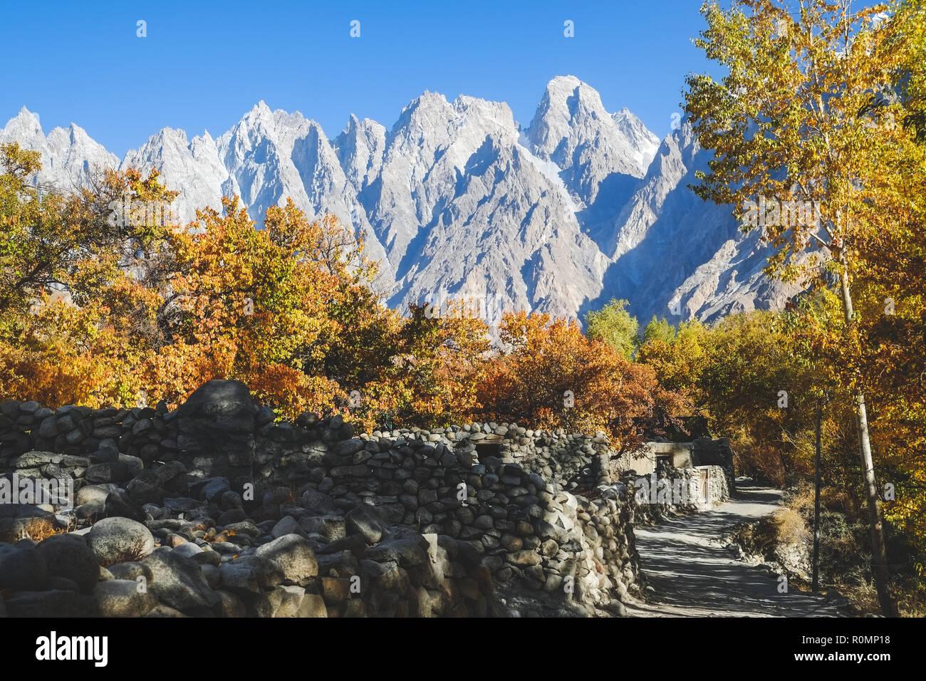 Landscape view of Passu village in autumn. Gilgit Baltistan, Pakistan. - Stock Image