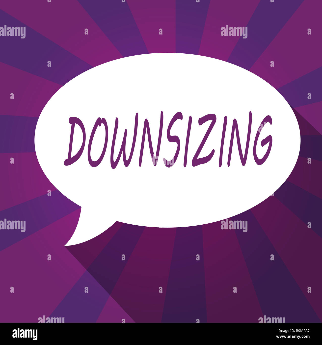 Conceptual hand writing showing Downsizing. Business photo showcasing Make a company smaller by shedding staff Expenses reduction. - Stock Image